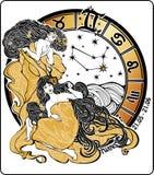 Ragazza dei gemelli ed il segno dello zodiaco. Cerchio dell'oroscopo. L'IL Fotografia Stock