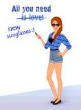 Ragazza dei pantaloni a vita bassa che indossa i vestiti alla moda Immagini Stock