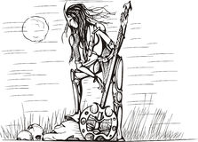 Ragazza del Amazon con la spada alla notte Immagine Stock Libera da Diritti