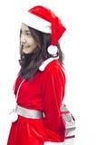 Ragazza del Babbo Natale con il contenitore di regalo Fotografie Stock