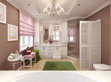 Ragazza del bagno dei bambini nel rosa Fotografia Stock