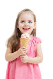 Ragazza del bambino che mangia il gelato Immagine Stock