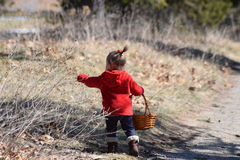 Ragazza del bambino che si riunisce al canestro Fotografie Stock Libere da Diritti
