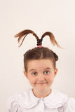 Ragazza del banco con stile di capelli divertente 5 immagine stock