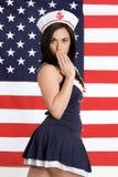 Ragazza del blu marino della bandiera americana Fotografie Stock Libere da Diritti