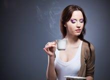 Ragazza del caffè Immagine Stock