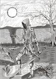 Ragazza del cavaliere con l'anello e la spada Immagini Stock