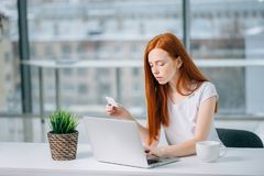 Ragazza del cliente che compra online con un computer portatile e una carta di credito Fotografie Stock