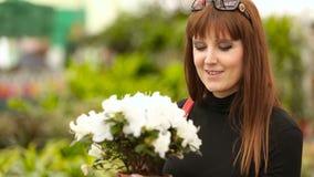 Ragazza del compratore nel negozio di fiore archivi video