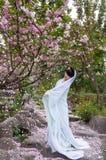 Ragazza del costume e fiore di ciliegia antichi Immagine Stock