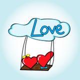 Ragazza del cuore e ragazzo del cuore sull'oscillazione nelle nuvole Fotografia Stock Libera da Diritti