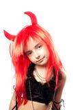 Ragazza del diavolo. Costume di carnevale dei diavoli. Fotografie Stock Libere da Diritti
