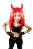 Ragazza del diavolo. Costume di carnevale dei diavoli. Fotografia Stock