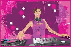 Ragazza del DJ che la mescola su 2 Fotografia Stock