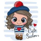 Ragazza del fumetto del bambino in costume del marinaio illustrazione vettoriale