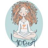 Ragazza del fumetto che fa yoga Immagini Stock Libere da Diritti