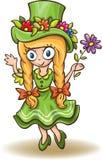 Ragazza del fumetto in vestito verde con i fiori Fotografie Stock