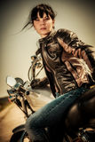 Ragazza del motociclista Fotografia Stock Libera da Diritti
