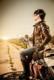 Ragazza del motociclista Fotografie Stock