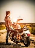 Ragazza del motociclista Immagine Stock
