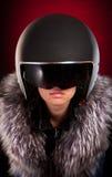 Ragazza del motociclista in un casco Fotografie Stock Libere da Diritti