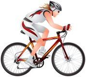 Ragazza del mountain bike Fotografie Stock