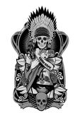 Ragazza del nativo americano con il copricapo dei crani Illustrazione di vettore illustrazione di stock