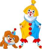 Ragazza del pagliaccio e cane divertenti del pagliaccio illustrazione di stock