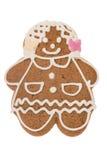 Ragazza del pan di zenzero di Natale isolata su un fondo bianco Immagine Stock Libera da Diritti