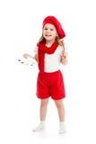 Ragazza del piccolo bambino in costume dell'artista isolato Fotografia Stock