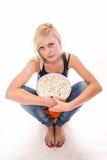 Ragazza del popcorn Fotografia Stock