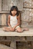 Ragazza del ritratto del Laos nella povertà Fotografia Stock Libera da Diritti