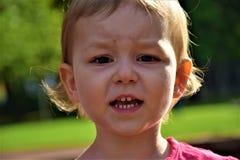 Ragazza del ritratto del piccolo bambino con il fronte serio sui precedenti di pianta Fotografia Stock Libera da Diritti
