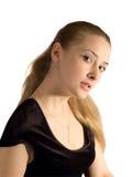 Ragazza del ritratto in vestito nero da velure Fotografia Stock Libera da Diritti
