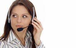 Ragazza del servizio clienti. Call center Fotografie Stock