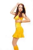 Ragazza del sesso in un vestito giallo Fotografie Stock