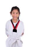 Ragazza del taekwondo dell'asiatico sopra con fondo Immagine Stock