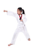 Ragazza del taekwondo dell'asiatico sopra con fondo Fotografie Stock Libere da Diritti