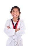 Ragazza del taekwondo dell'asiatico sopra con fondo Immagini Stock
