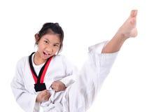 Ragazza del taekwondo dell'asiatico sopra con fondo Fotografia Stock Libera da Diritti