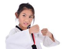 Ragazza del taekwondo dell'asiatico sopra con fondo Fotografia Stock