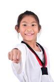 Ragazza del taekwondo dell'asiatico sopra con fondo bianco Fotografia Stock Libera da Diritti