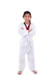 Ragazza del taekwondo dell'asiatico sopra con fondo bianco Immagini Stock
