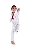 Ragazza del taekwondo dell'asiatico sopra con fondo bianco Immagine Stock