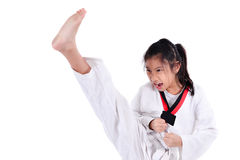 Ragazza del taekwondo dell'asiatico sopra con fondo bianco Fotografie Stock Libere da Diritti