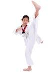 Ragazza del taekwondo dell'asiatico sopra con fondo bianco Immagini Stock Libere da Diritti