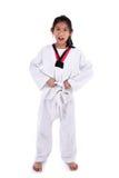 Ragazza del taekwondo dell'asiatico su fondo bianco Immagini Stock Libere da Diritti