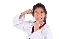 Ragazza del taekwondo dell'asiatico su fondo bianco Immagini Stock