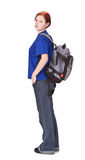 Ragazza del viaggiatore con zaino e sacco a pelo Fotografia Stock Libera da Diritti