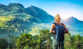 Ragazza del viaggiatore nello Sri Lanka Fotografie Stock Libere da Diritti